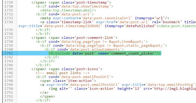 Changer le lien et les titres Commentaires sous Blogger