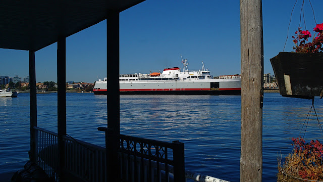 The Coho ferry passes Fishermans Wharf.