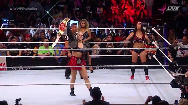WWE Evolution Highlights : Ronda Rousey Defeats Nikki Bella To Retain Raw Women's Champion