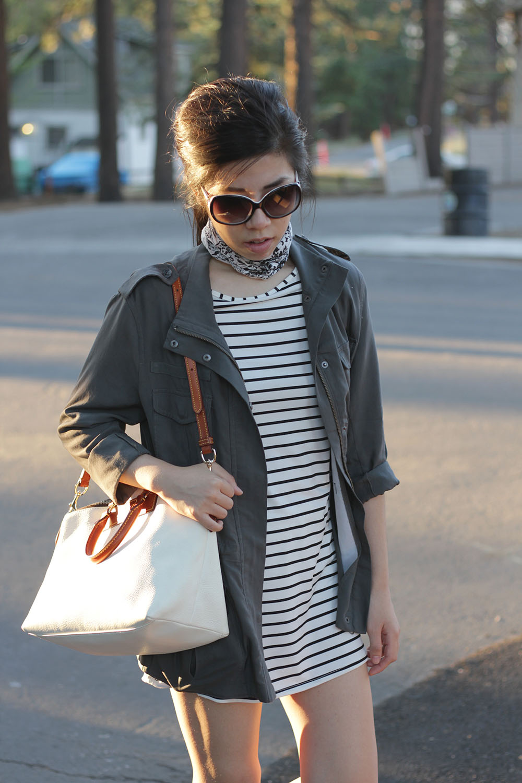 Adrienne Nguyen_Weekend Style_Striped Dress and Green Jacket Utility