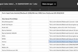 Form Input Data Sekolah Baru Pelaksana UN SMA/MA/SMK Jawa Tengah 2019