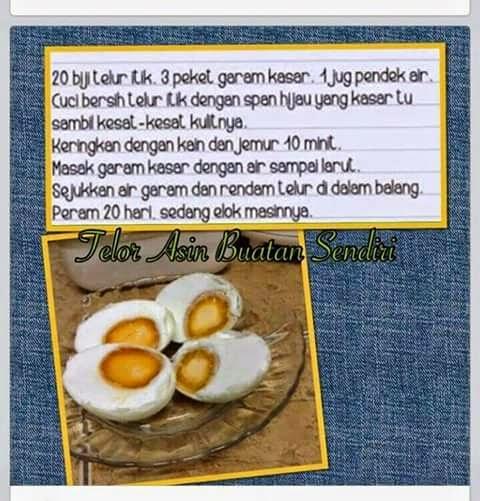 resepi telur asin, buatan sendiri, telur, itik,