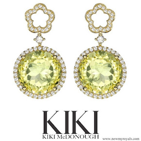 Kate Middleton wears Kiki McDonough Diamond Flower and Lemon Quartz Drop Earrings
