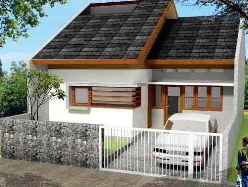 Gambar Pagar Rumah Sederhana Kombinasi Batu Alam dan Besi