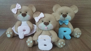 familia urso em feltro, familia urso topo de bolo