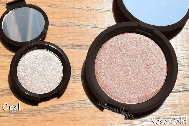 Becca Opal Deluxe Sample Travel Size Rose Gold Pressed Highlighter Full Size Comparison Review