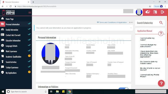 Personal Information - Aplikasi Pendaftaran Beasiswa YTB Turki