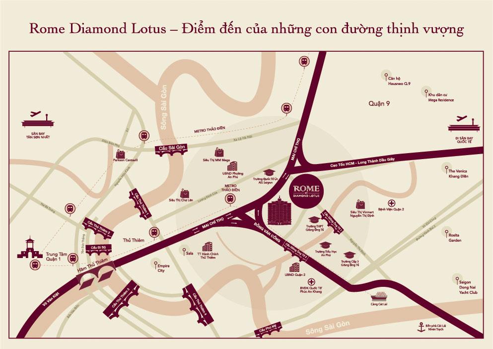 VỊ TRÍ KHU NGHỈ DƯỠNG 4 SAO ROME DIAMOND LOTUS