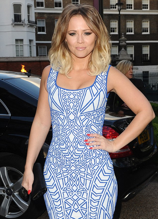 Aztec Print, Blue, Bodycon, Bright, Contrast, Dress, Geometric Print, Jacquard, Kimberley Walsh, Piping, RVN, Scoop Neck, Sleeveless, Trim Detail, White