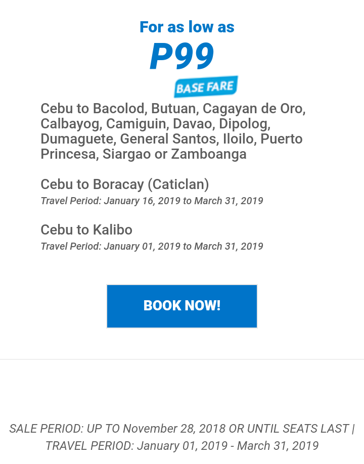 99php and 499php Airfare from Cebu for Domestic and International Flights