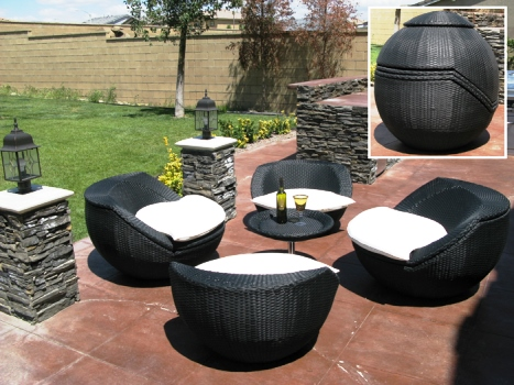 elegant outdoor black wicker patio furniture sets design ideas
