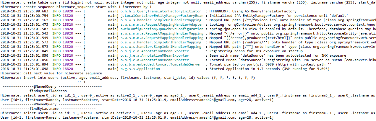 Spring Data JPA @NamedQuery and @NamedQueries Example