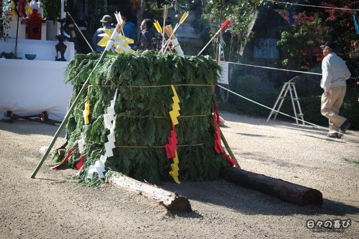 Bûcher de branches de cyprès, temple Daisho-in, Miyajima, Hiroshima-ken