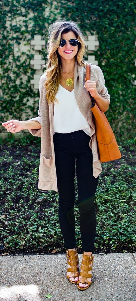 work outfit wear / bag + cardi + top + pants + heels