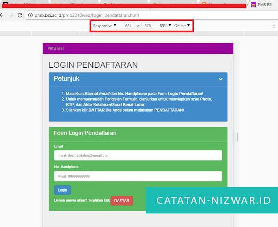 Akses Web PMB BSI dengan Tampilan Device berbeda - Catatan Nizwar ID