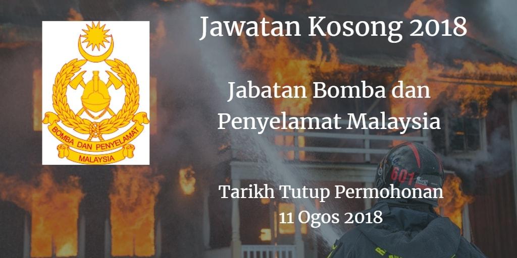 Jawatan kosong Jabatan Bomba dan Penyelamat Malaysia 11 Ogos 2018