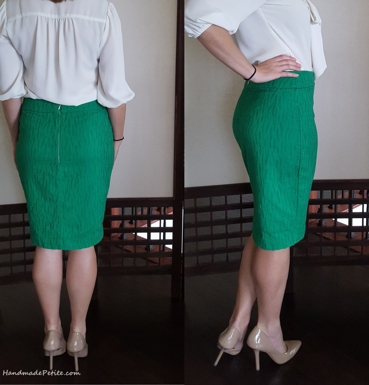 Back and side views of sewn pencil skirt with darts and invisible zipper