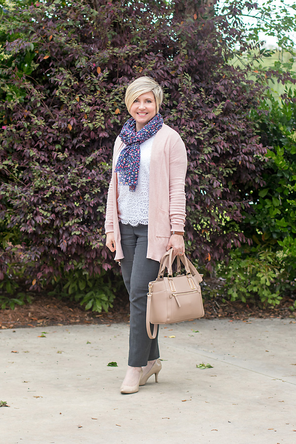 blush cardigan work outfit