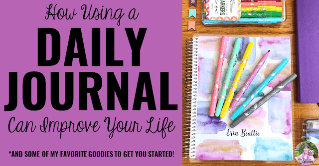 "Journal Supplies with text, ""How Using a Daily Journal Can Improve Your Life."""