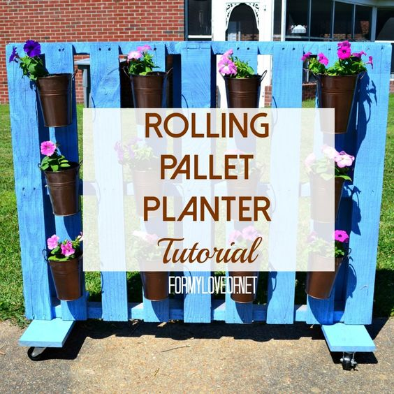 Pallet Planter Privacy Screen On Wheels Hides Trash Bins - Created By TheBohoAbode