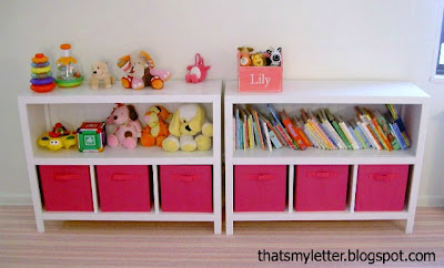 diy bookshelves with fabric bins