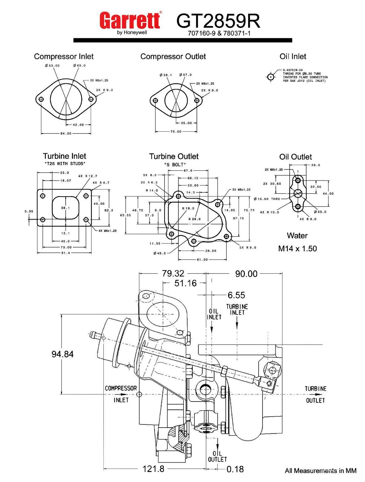 hight resolution of garrett gt28r turbo gt2859r dual ball bearing measurements in mm turbocharger flanges diameter turbo flange honeywell 1496x1977