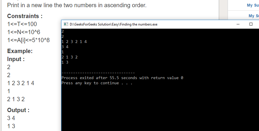 "Geeksforgeeks Solution For "" Finding the numbers """