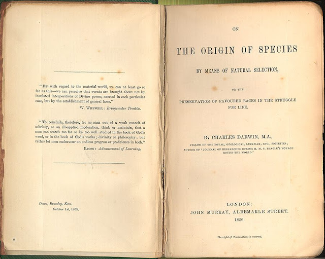 Original title page of the first edition. Origin of the Species by Means of Natural Selection published 1859. Illustrated By . . . marchmatron.com