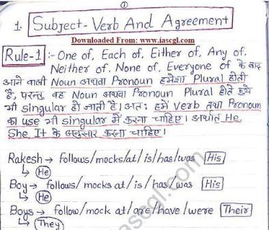 English Grammar Hand Written Notes