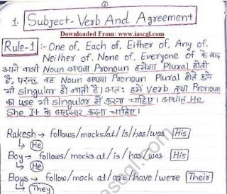 English Grammar Hand Written Notes- English & Hindi- Bilingual