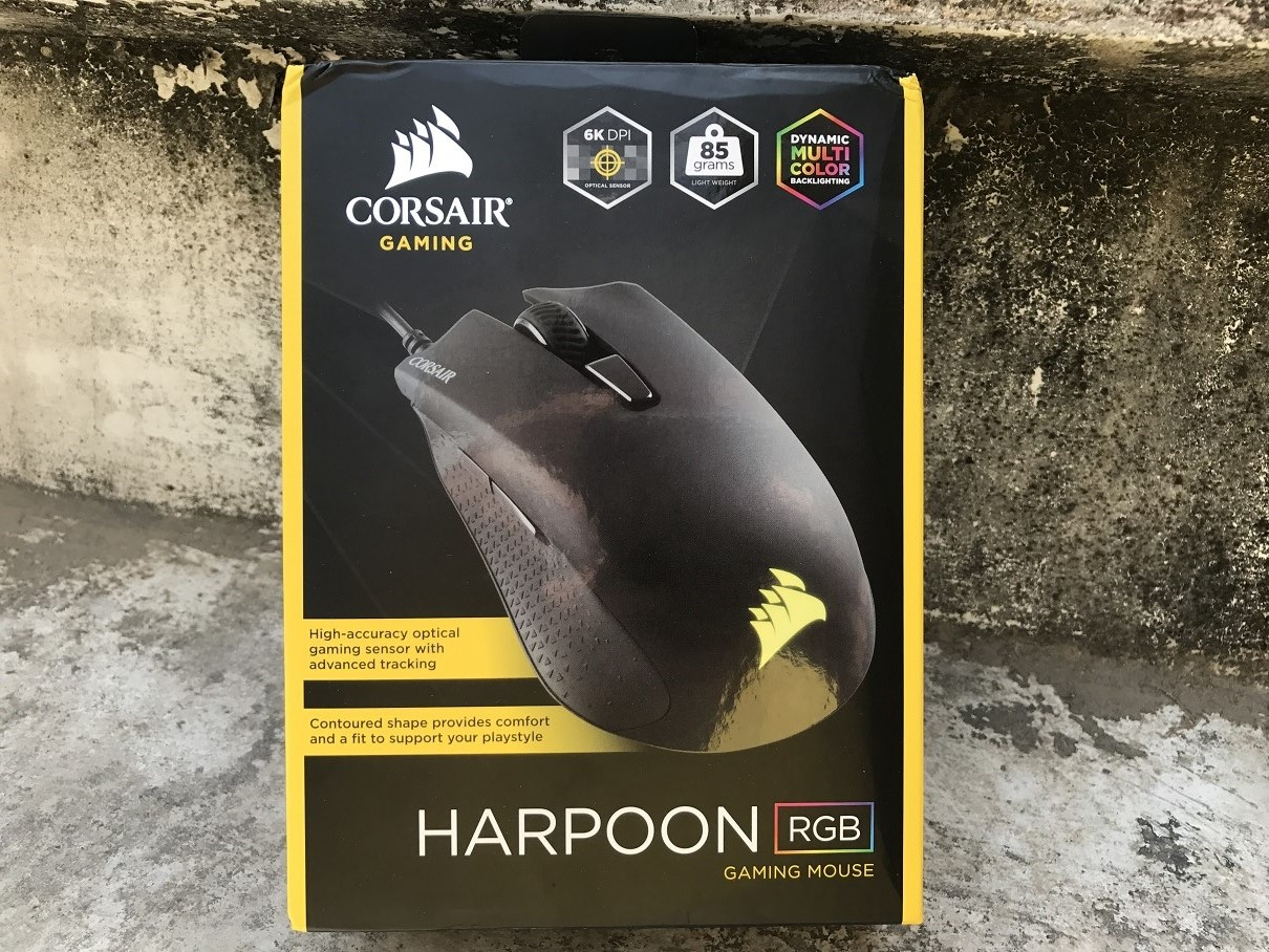 0abd1e6de1c ... are now depicted by a black box with splashes of yellow since that's  what their signature color theme is. The packing of the Corsair Harpoon RGB  Gaming ...