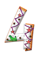 Number four graphic, decorated with icing, stars and a sleigh