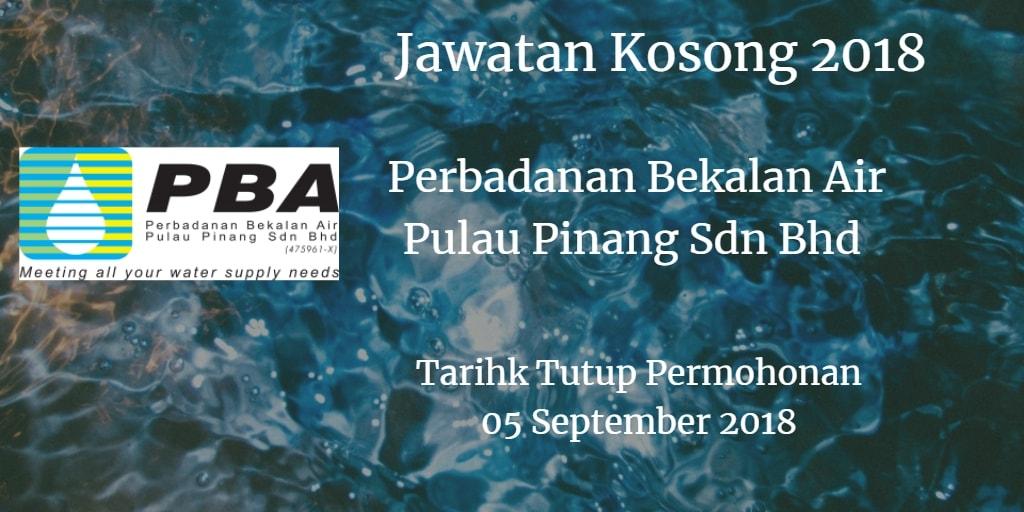 Jawatan Kosong Perbadanan Bekalan Air Pulau Pinang Sdn Bhd 05 September 2018