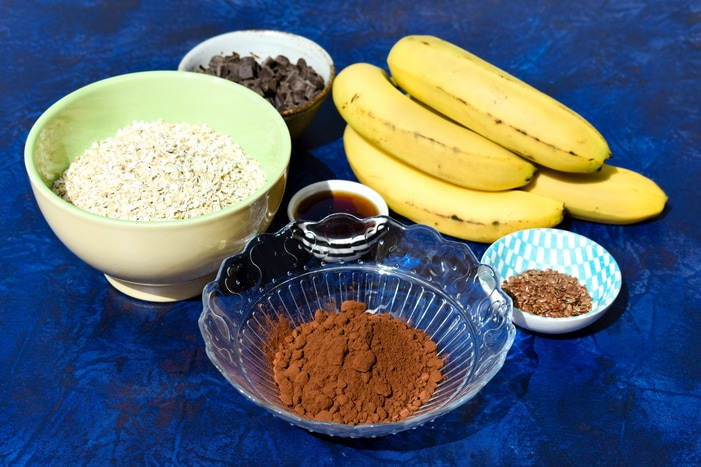 Ingredients laid out for making Oaty Chocolate and Banana Cookies