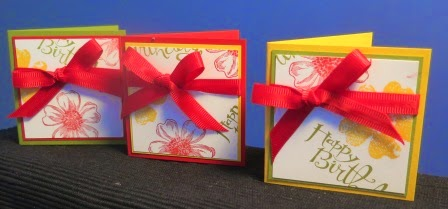 gift cards in a row stampin up Australia - zena kennedy,