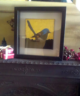 "A framed painting of the lovely fairy wren in gilded acrylics on canvas. 6"" x 6"""