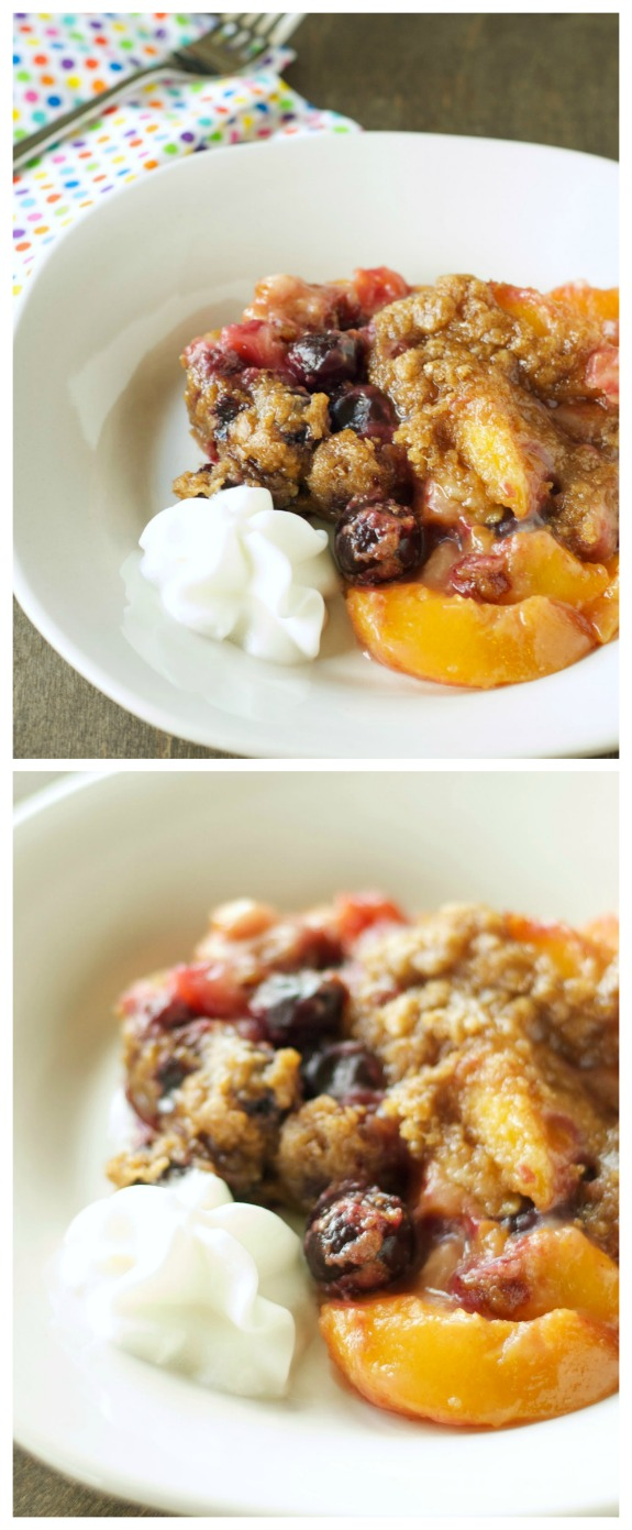 CrockPot Peach and Cherry Crumble from Slow Cooker Gourmet found on SlowCookerFromScratch.com