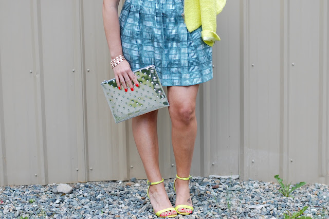 Rachel, Rachel Roy dress, Zara neon yellow jacket, Ela Editor's Pouch, Prabal Gurung for Target heels.