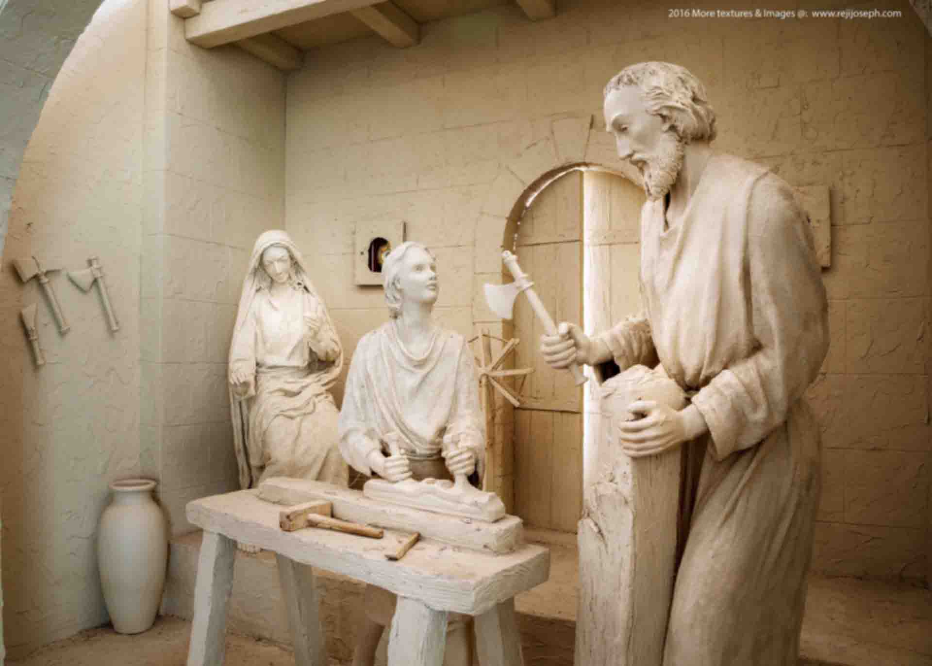 Holy Family Statue Jesus as Carpenter in Workshop 002