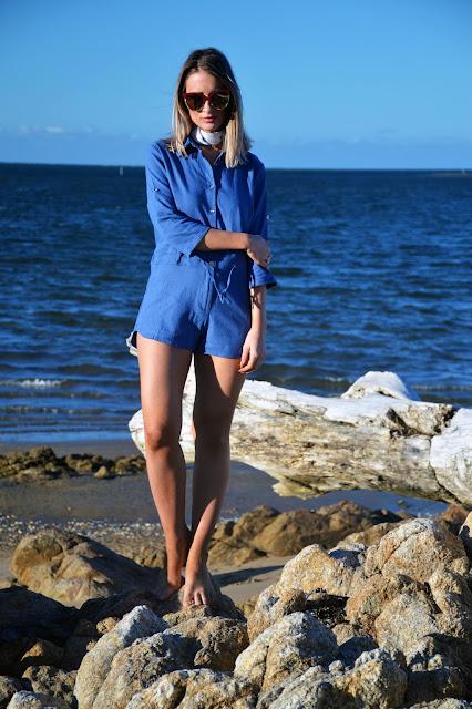 long sleeve denim playsuit bargain cheap australia beach summer style outfit idea