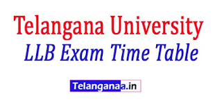 Telangana University LLB 3rd Sem Theory Regular Exam Time Table 2017