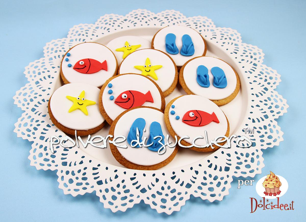 biscotti decorati cake design cookies biscotti a tema mare pesci infradito e stella marina polvere di zucchero