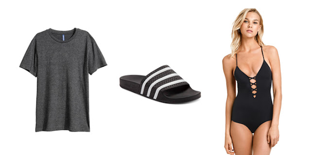 Basic Tied Tshirts, College Blogger, Lifestyle Blogger, Fashion Blogger, Adidas Adilette Slides, Victoria's Secret Lace Up One Piece Swimsuit