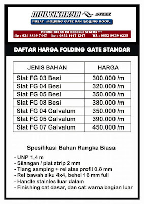 gambar daftar harga foldinggate standart bandung murah