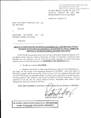 CEO Gil Neuman of Kent Security sanctioned by court again!