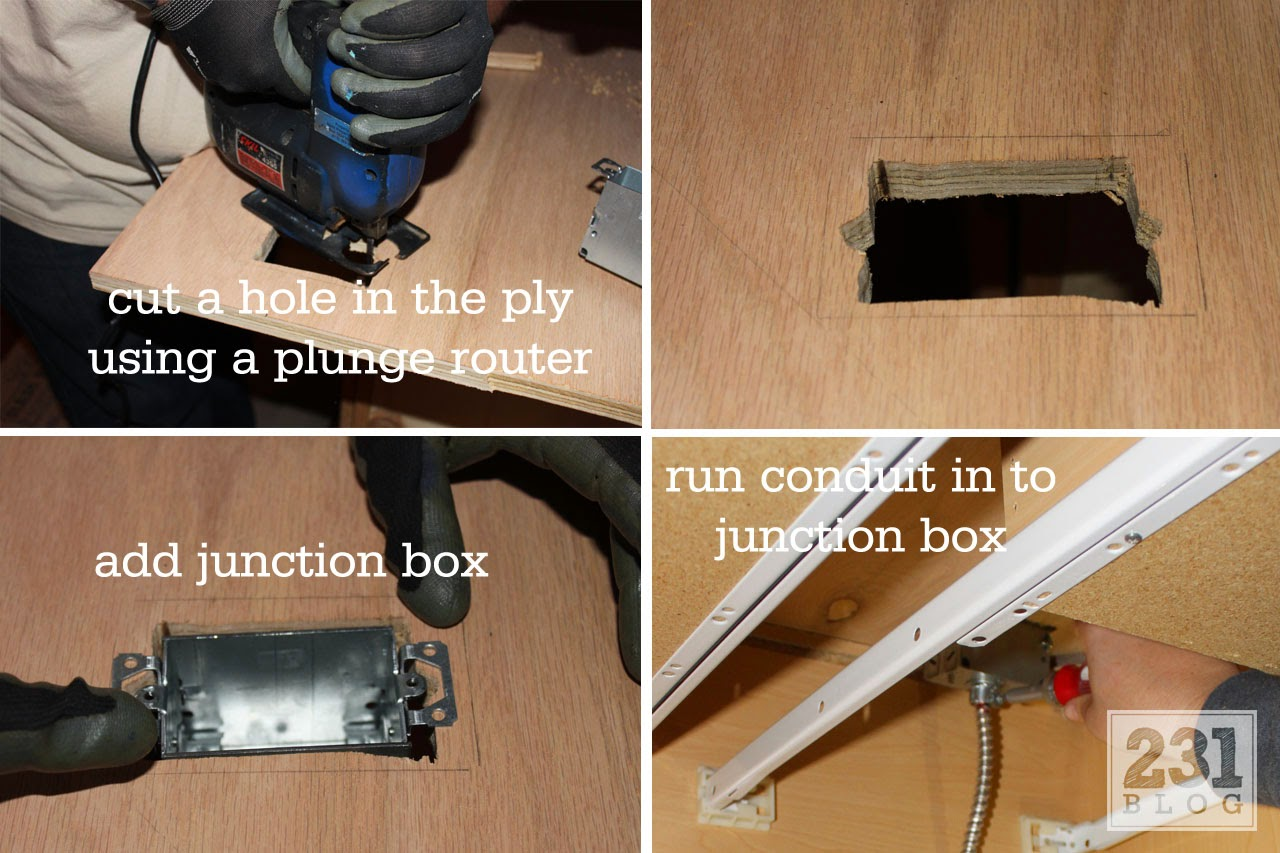We Added The Junction Box Placed Top On Cabinet And Nailed It To With A Finish Nailer