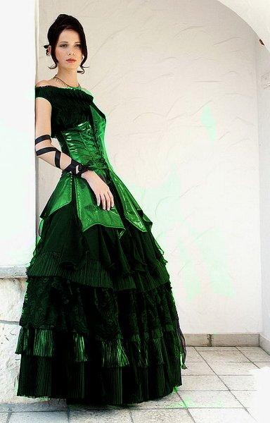 Green Mixed Black Wedding Dress Designs With Corset