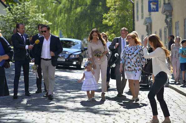 Princess Madeleine of Sweden, Princess Leonore of Sweden and Christopher O'Neill are seen visiting Gotland Museum