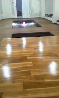Contoh terpasang lantai kayu Jati