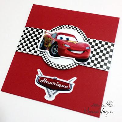convite aniversário infantil artesanal personalizado filme carros relâmpago mcqueen vermelho menino cars